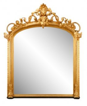 Regal Louis Xvi Style Giltwood Mirror, 19th C.