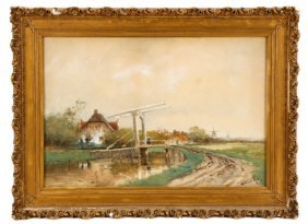 Willem Cornelis Rip, Dutch Landscape, Watercolor
