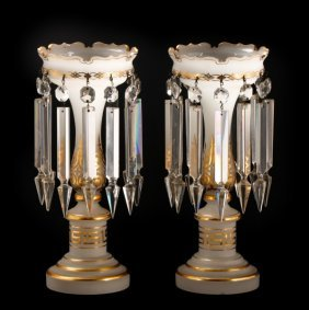 Pair Of Opaline & Gilt Accented Glass Lustres