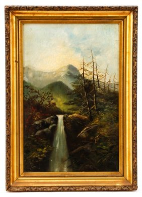 Wilderness Landscape With Waterfall, Signed