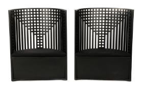 pair art deco style ebonized barrel back chairs art deco chairs