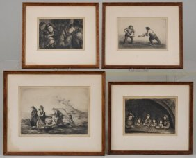 (4) Etchings By Esteban Vincente (1903-2001, Amer