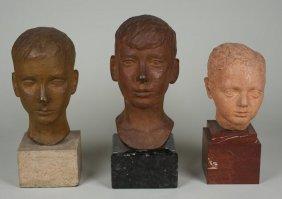 Artist Unknown: (3) Bronze, Marble And Ceramic Bu