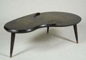 Mid-Century Brass Mounted Coffee Table Manner Of