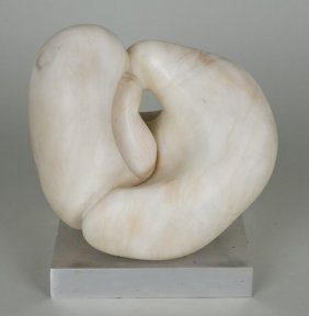 White Marble Sculpture In The Manner Of Jean Arp
