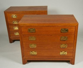 Nice Pair Teak Chests In The Manner Of James Mont