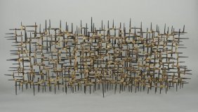 Cut Nail Wall Sculpture In The Manner Of Curtis J