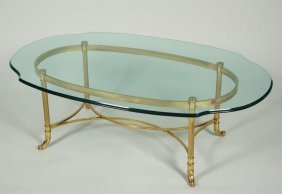 Italian Brass Coffee Table With Beveled Glass Top