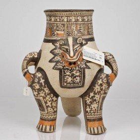 Guanacaste/Nicoya Painted Ceramic Jaguar Effigy Jar