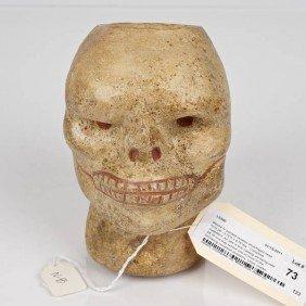 Moche IV Polychromed Ceramic Skull Form Jar