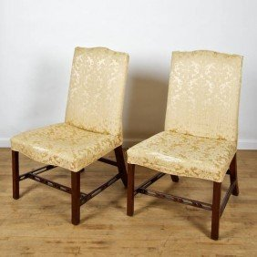 Pair Georgian Mahogany Serpentine Side Chairs
