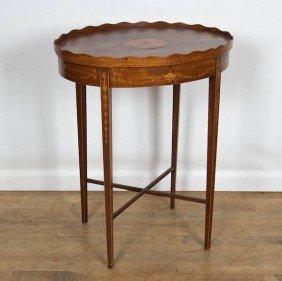 George III Mahogany Inlaid Oval Tray Top Table