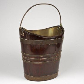 George III Brass Bound Mahogany Peat Bucket
