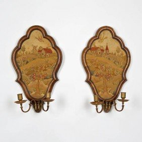 Pair George II Walnut, Brass And Needlepoint Scon