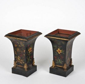 Pair Regency Floral Decorated Toleware Urns