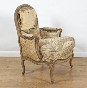 Louis XV Style Gray Painted Bergere