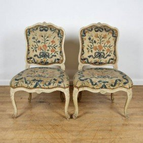 Pair Louis XV Cream Painted Side Chairs