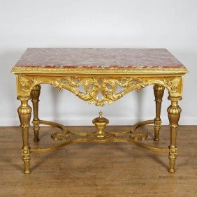 Napoleon III Giltwood Marble Top Center Table
