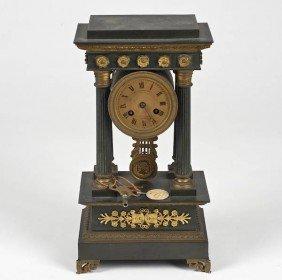 Empire Style Bronze Portico Clock