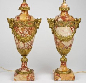 Pair Louis XVI Style Bronze Mounted Marble Lamps