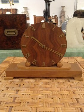 Art Deco Walnut Table Clock
