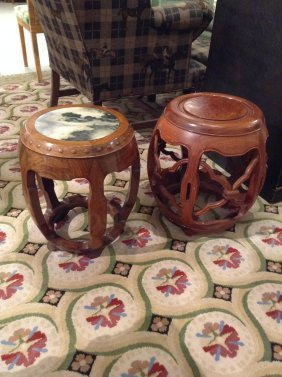 (2) Chinese Hardwood Barrel Stools