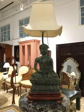 Asian Patinated Bronze Buddha Lamp
