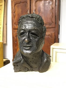 Patinated Bronze Bust Signed Quinton