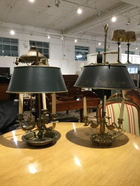 (2) Bouillotte Lamps With Green Tole Shades