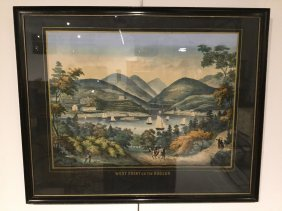 "19th C. Lithograph, ""west Point On The Hudson"""