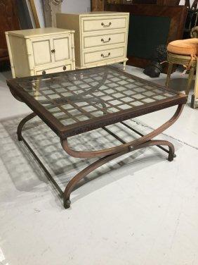 Modernist Steel Glass Top Coffee Table