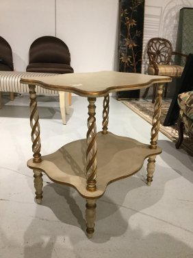 James Mont Style Painted, Gilt Side Table