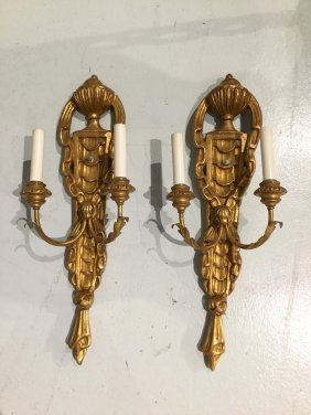 Pair Italian Carved Giltwood Sconces