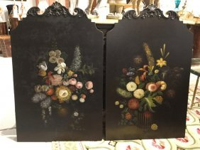 Pair Chelsea House Floral Painted Panels