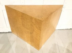Custom Blonde Wood Triangular Table