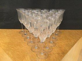 Set (21) Sevres Crystal Champagne Flutes