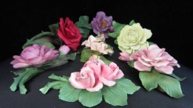 COLLECTION OF SEVEN CAPODIMONTE FLOWERS