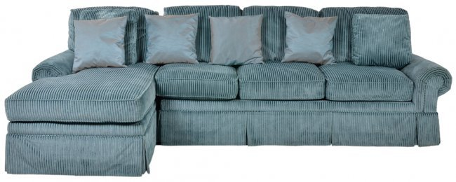 A Sea Blue Corduroy Sectional Sofa With Chaise Lot 106