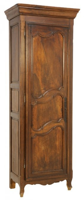 a french walnut finish single door bonnetiere armoire lot 93. Black Bedroom Furniture Sets. Home Design Ideas