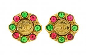 A PAIR OF CHANEL GOLDTONE AND GRIPOIX EARRINGS