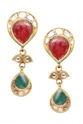 A Pair Of Diamond Mughal Style Earrings