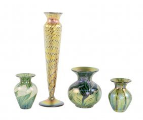 A Group Of Four Lundberg Studios Glass Vases