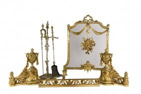A Collection Of Ormolu And Brass Fireplace Elements