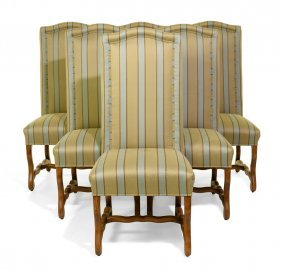 A Set Of Six Louis Xiv Style Walnut Dining Chairs