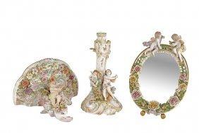 Three Continental Porcelain Figural Articles