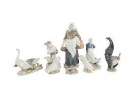 A Group Of Farm-themed Royal Copenhagen Porcelain