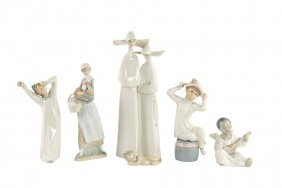 A Group Of Six Lladro Porcelain Figures