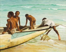 Anonymous , (20th Century), Boys On Boat, Oil On