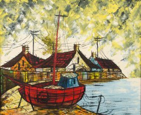 Artist Unknown, (20th Century), Docked Boats, Oil On