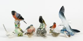 A Collection Of Ceramic Bird Ornaments